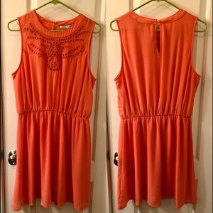 Coral Dress with detailed chest
